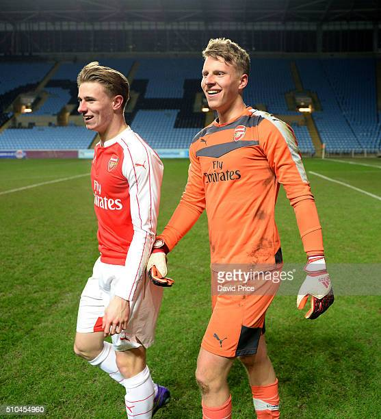 Ben Sheaf congratulates Hugo Keto after the penalty shoot out during the match between Coventry City v Arsenal in the FA Youth Cup at Ricoh Arena on...