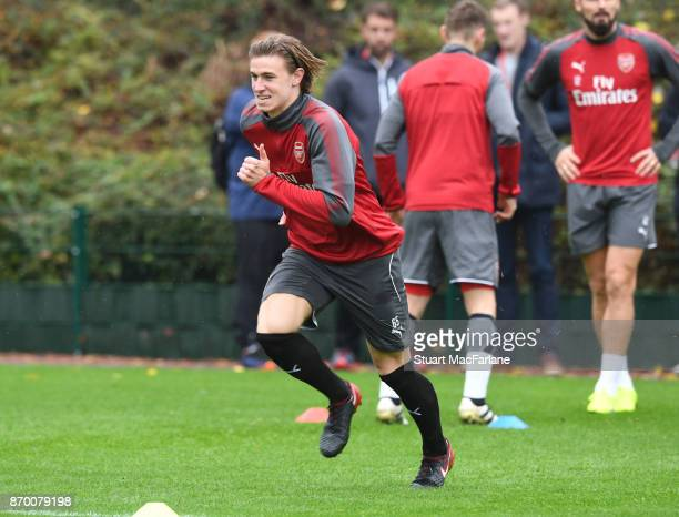 Ben Sheaf of Arsenal during a training session at London Colney on November 4 2017 in St Albans England