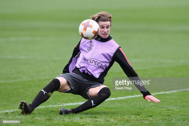 Ben Sheaf of Arsenal during the Arsenal training session on the eve of the UEFA Europa League group H match against BATE Borisov at London Colney on...