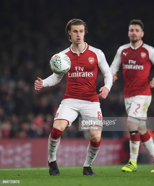 Ben Sheaf of Arsenal during the Carabao Cup Quarter Final match between Arsenal and West Ham United at Emirates Stadium on December 19 2017 in London...