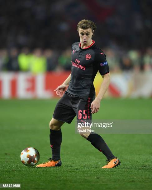 Ben Sheaf of Arsenal during the UEFA Europa League group H match between Crvena Zvezda and Arsenal FC at Rajko Mitic Stadium on October 19 2017 in...