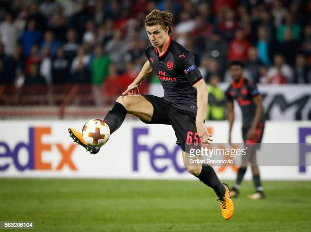Ben Sheaf of Arsenal in action during the UEFA Europa League group H match between Crvena Zvezda and Arsenal FC at Rajko Mitic Stadium on October 19...
