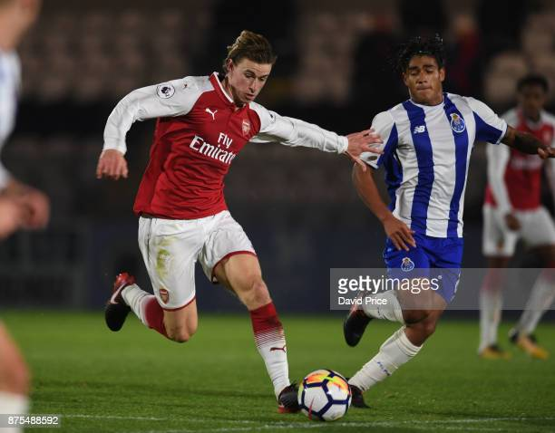 Ben Sheaf of Arsenal takes on Federico Varela of Porto during the match between Arsenal U23 and Porto at Meadow Park on November 17 2017 in...