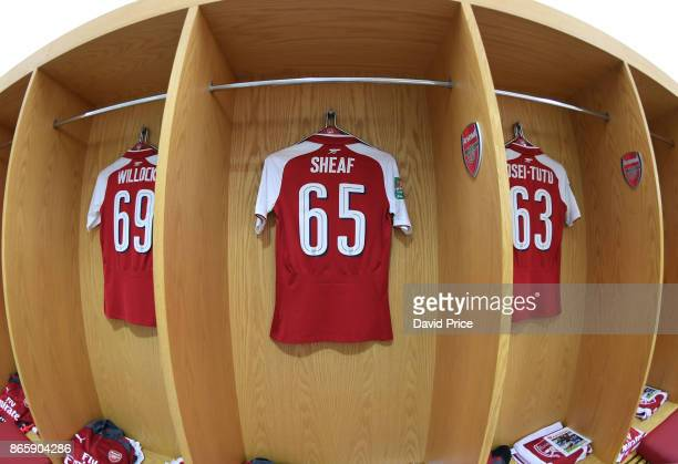 Ben Sheaf's Arsenal shirt in the changing room before the Carabao Cup Fourth Round match match between Arsenal and Norwich City at Emirates Stadium...