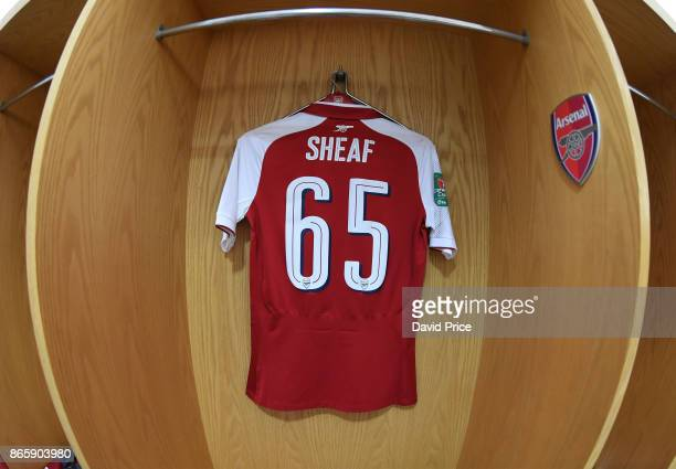 Ben Sheaf's Arsenal shirt in the changingroom before the match between Arsenal and Norwich City at Emirates Stadium on October 24 2017 in London...