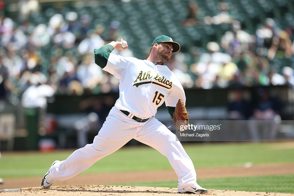 Ben Sheets #15 of the Oakland Athletics pitching during the game against the Tampa Bay Rays at the Oakland Coliseum on May 8, 2010 in Oakland, California. The Athletics defeated the Rays 4-2.