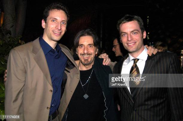 Ben Shenkman Al Pacino and Justin Kirk during HBO Films Pre Golden Globes Party Inside Coverage at Chateau Marmont in Los Angeles California United...