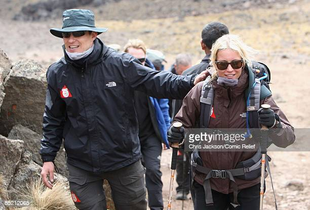 Ben Shephard and Denise Van Outen arrive in camp on the third day of The BT Red Nose Climb of Kilimanjaro on March 4 2009 in Arusha Tanzania...