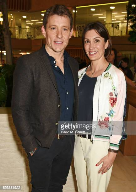 "Ben Shephard and wife Annie Perks attend the press night after party for ""Stepping Out"" at the Coutts Bank on March 14, 2017 in London, England."