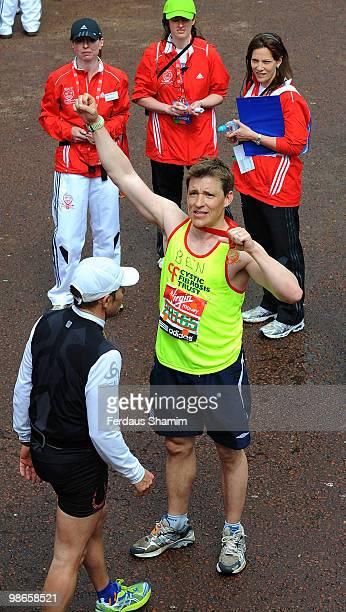 Ben Shephard completes the Virgin London Marathon on April 25 2010 in London England