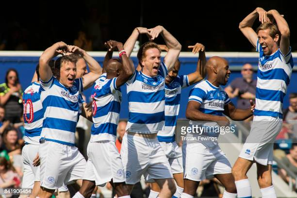 Ben Shephard, Mo Farah, Damian Lewis, DJ Spoony and Peter Crouch during the #GAME4GRENFELL at Loftus Road on September 2, 2017 in London, England....