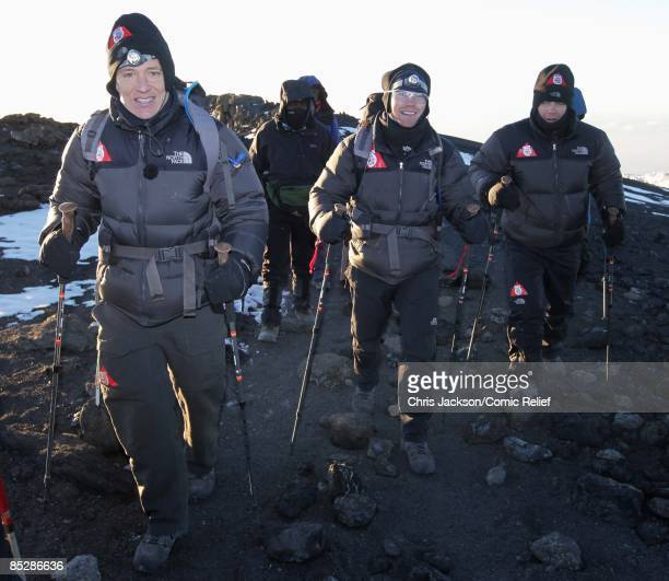 Ben Shephard Ronan Keating and Gary Barlow reach the top of Mount Kilimanjaro on the seventh day of The BT Red Nose Climb of Kilimanjaro on March 7...
