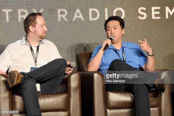 Ben Shepherd of Amazon Global Head of Alexa Music and Johnny Chiang Operations Manager of KKBQFM speak onstage during day 2 of CRS 2018 on February 6...