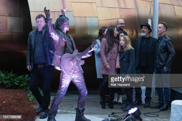 Ben Shepherd Vicky Cornell Christopher Cornell Kim Thayil and Matt Cameron attend the public unveiling ceremony for a lifesize statue of Soundgarden...
