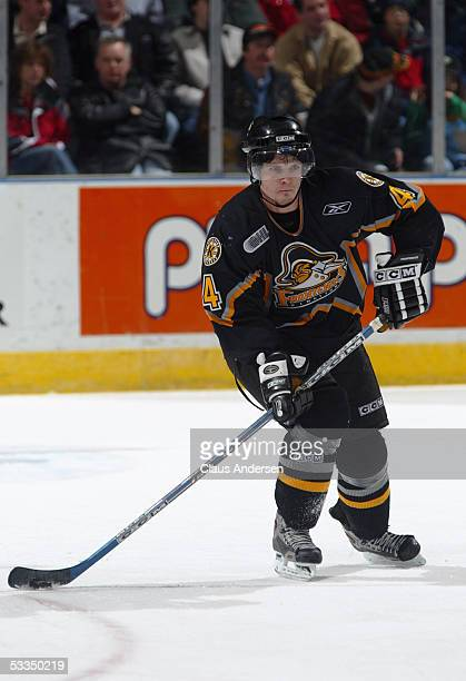 Ben Shutron of the Kingston Frontenacs skates during a Ontario Hockey League game against the London Knights at Jon Labatt Centre on January 30, 2005...