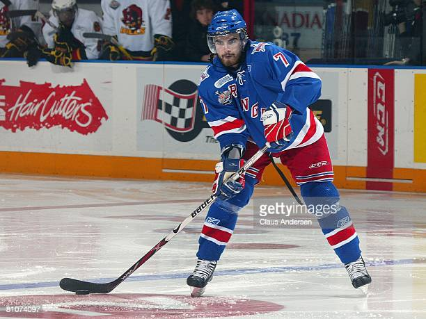 Ben Shutron of the Kitchener Rangers fires a pass in game 7 of the OHL Championship final against the Belleville Bulls on May 12 2008 at the...