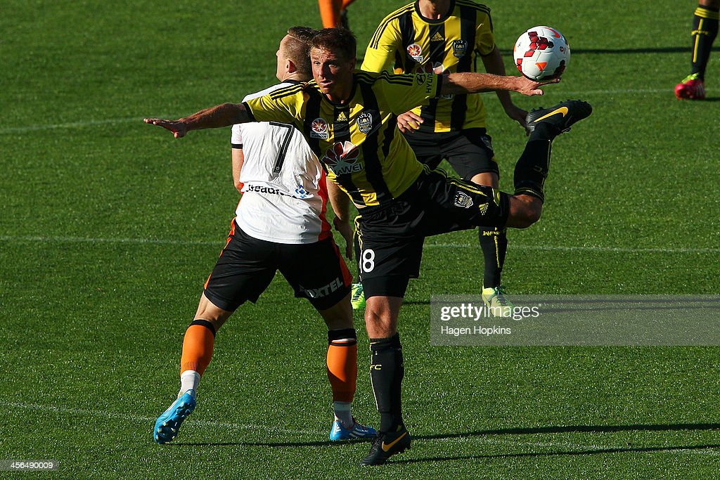 Ben Sigmund of the Phoenix attempts to control a header during the round 10 A-League match between the Wellington Phoenix and Brisbane Roar at Westpac Stadium on December 14, 2013 in Wellington, New Zealand.