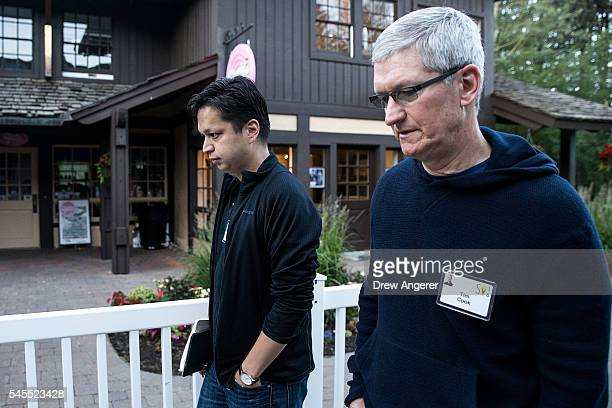 Ben Silbermann chief executive officer of Pinterest and Tim Cook chief executive officer of Apple Inc attend the annual Allen Company Sun Valley...