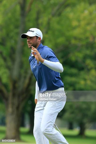 Ben Silverman acknowledges the gallery during the first round of the Nationwide Children's Hospital Championship held at The Ohio State University...