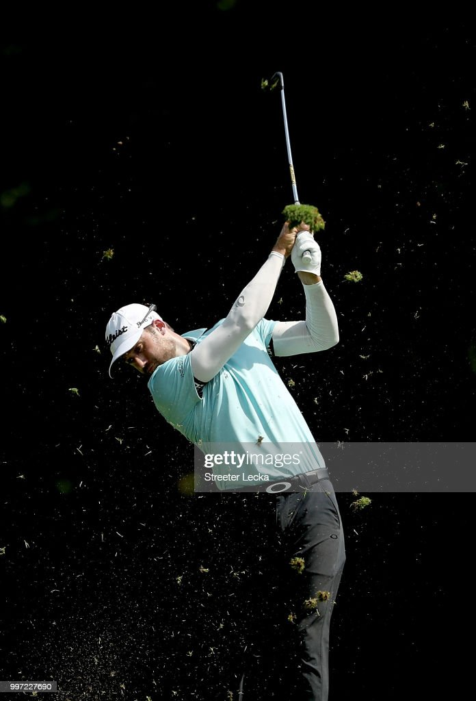 Ben Silverman hits a shot on the sixth hole during the first round of the John Deere Classic at TPC Deere Run on July 12, 2018 in Silvis, Illinois.