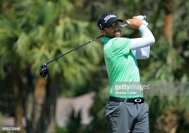 Ben Silverman hits his drive on the 18th hole during the first round of the Webcom Tour Championship held at Atlantic Beach Country Club on September...