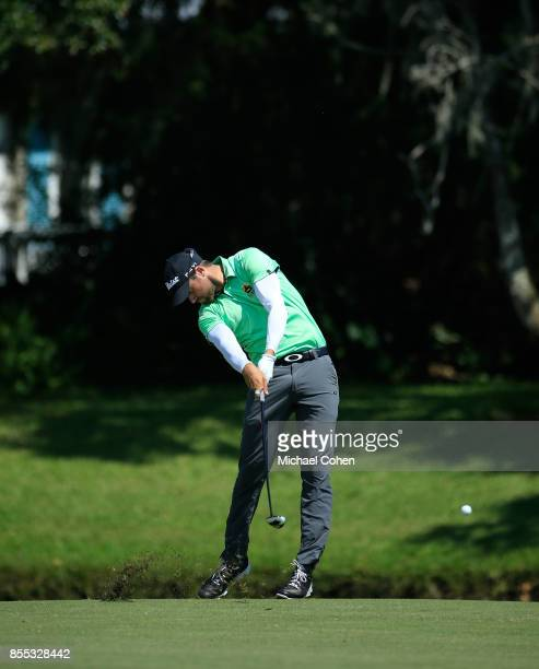 Ben Silverman hits his second shot on the 18th hole during the first round of the Webcom Tour Championship held at Atlantic Beach Country Club on...