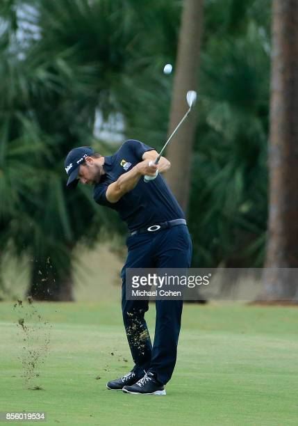 Ben Silverman hits his second shot on the first hole during the third round of the Webcom Tour Championship held at Atlantic Beach Country Club on...