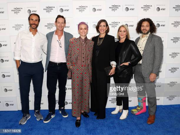 """Ben Silverman, Howard Owens, Megan Rapinoe, Abby Greensfelder, Andrea Nix Fine and Sean Fine attend the """"Let's F*****g Go"""" premiere during the 2021..."""