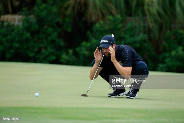 Ben Silverman lines up his birdie putt on the first green during the third round of the Webcom Tour Championship held at Atlantic Beach Country Club...