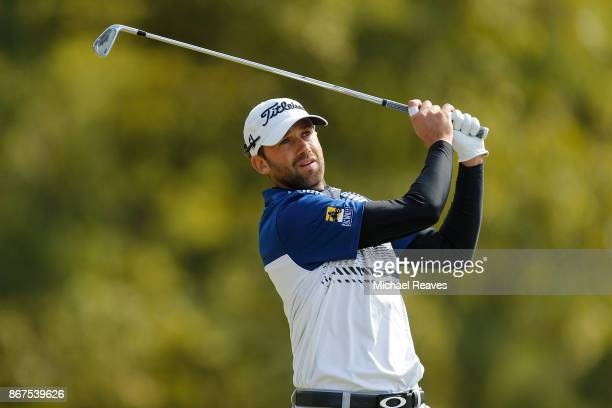 Ben Silverman of Canada plays his shot from the fourth tee during the third round of the Sanderson Farms Championship at the Country Club of Jackson...