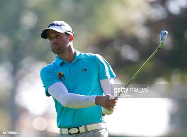 Ben Silverman of Canada watches his second shot on the 16th hole during the first round of the Webcom Tour DAP Championship on September 21 2017 in...