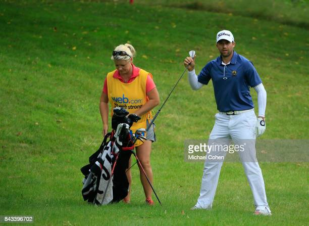 Ben Silverman pulls a club from his golf bag during the first round of the Nationwide Children's Hospital Championship held at The Ohio State...