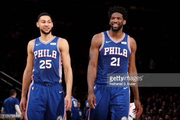 Ben Simmons and Joel Embiid of the Philadelphia 76ers smile during a game against the New York Knicks on February 13 2019 at Madison Square Garden in...