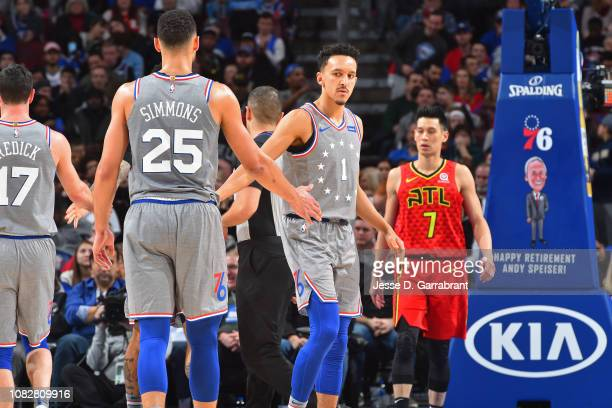 Ben Simmons and Landry Shamet of the Philadelphia 76ers exchange handshakes during the game against the =ah on January 11 2019 at the Wells Fargo...