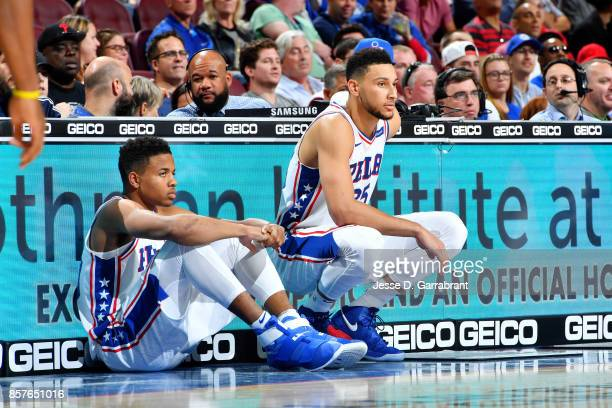 Ben Simmons and Markelle Fultz of the Philadelphia 76ers look on during the game against the Memphis Grizzlies during a preseason game on October 4...