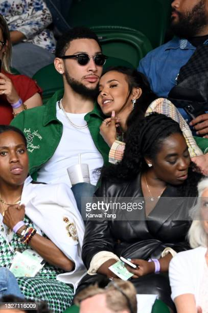 Ben Simmons and Maya Jama attend Wimbledon Championships Tennis Tournament at All England Lawn Tennis and Croquet Club on July 05, 2021 in London,...