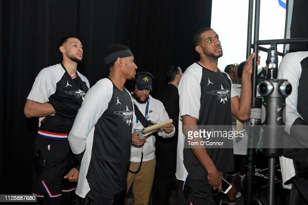Ben Simmons Bradley Beal and LaMarcus Aldridge of Team LeBron stare on before the game against Team Giannis during the 2019 NBA AllStar Game on...