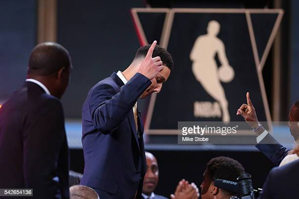 Ben Simmons celebrates after being drafted first overall by the Philadelphia 76ers in the first round of the 2016 NBA Draft at the Barclays Center on...