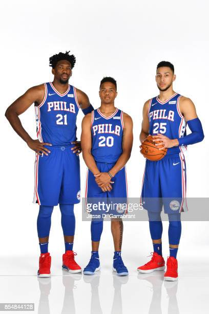 Ben Simmons Joel Embiid and Markelle Fultz pose for a portrait during 201718 NBA Media Day on September 25 2017 at Wells Fargo Center in Philadelphia...