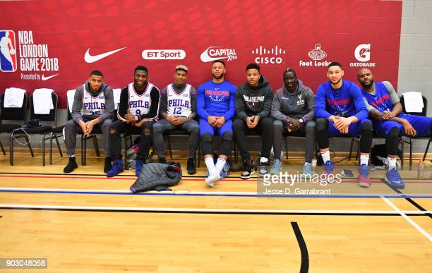 Ben Simmons Markell Fultz of the Philadelphia 76ers pose with Mamadou Sakho Timothy FosuMensah Ruben LoftusCheek Patrick van Aanholt and Jeffrey...