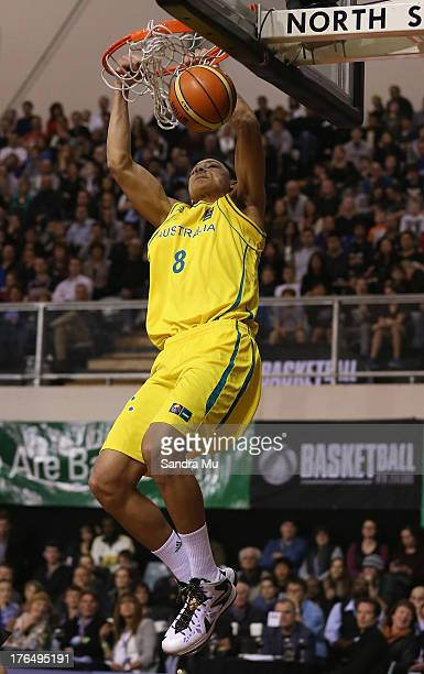 Ben Simmons of Australia slam dunks during the Men's FIBA Oceania Championship match between the New Zealand Tall Blacks and the Australian Boomers...