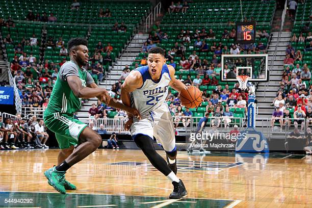 Ben Simmons of Philadelphia 76ers drives to the basket during the game against the Boston Celtics during the 2016 NBA Utah Summer League on July 4...