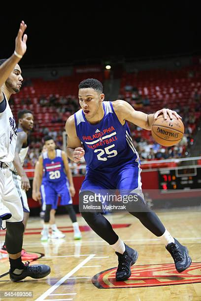 Ben Simmons of Philadelphia 76ers handles the ball against the Utah Jazz on July 7 2016 during the 2016 Utah Summer League at vivintSmartHome Arena...