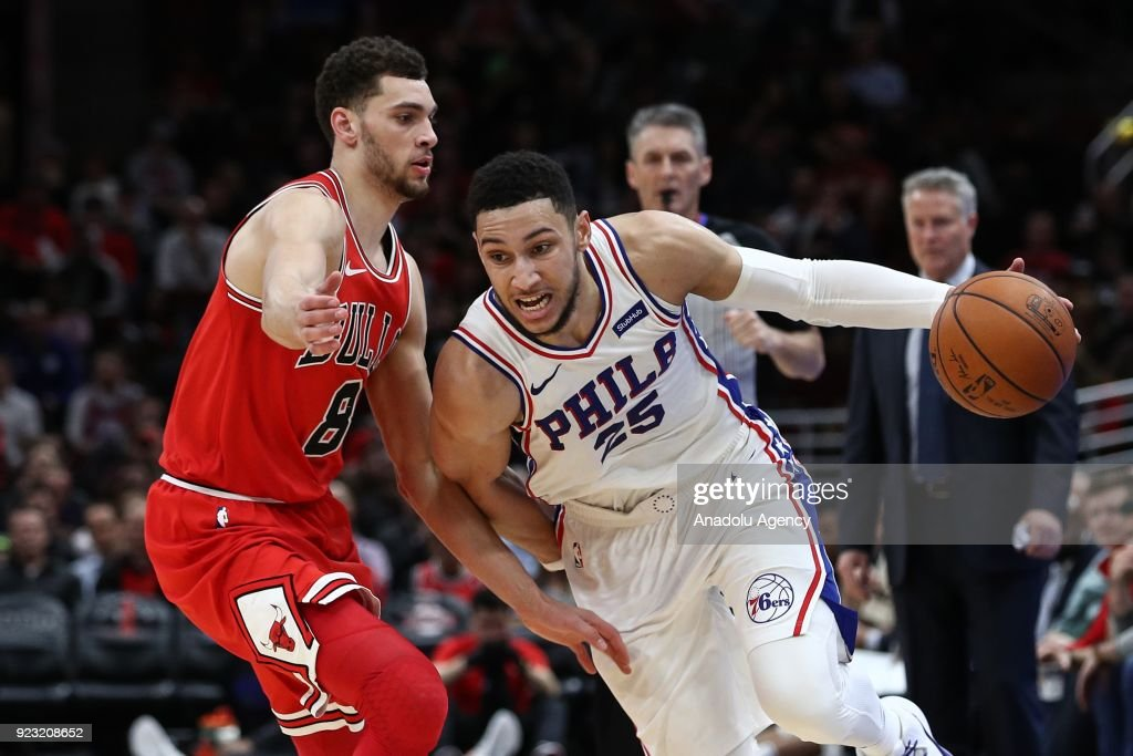 Ben Simmons (25) of Philadelphia 76ers in action during the NBA basketball match between Chicago Bulls and Philadelphia 76ers at the United Center in Chicago, Illinois, United States on February 22, 2018.