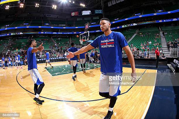 Ben Simmons of Philadelphia 76ers looks on before the game against the Boston Celtics during the 2016 NBA Utah Summer League on July 4 2016 at Vivint...