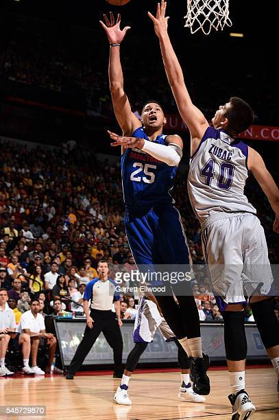 Ben Simmons of Philadelphia 76ers shoots a layup during the game against Ivica Zubac of Los Angeles Lakers during the 2016 NBA Las Vegas Summer...