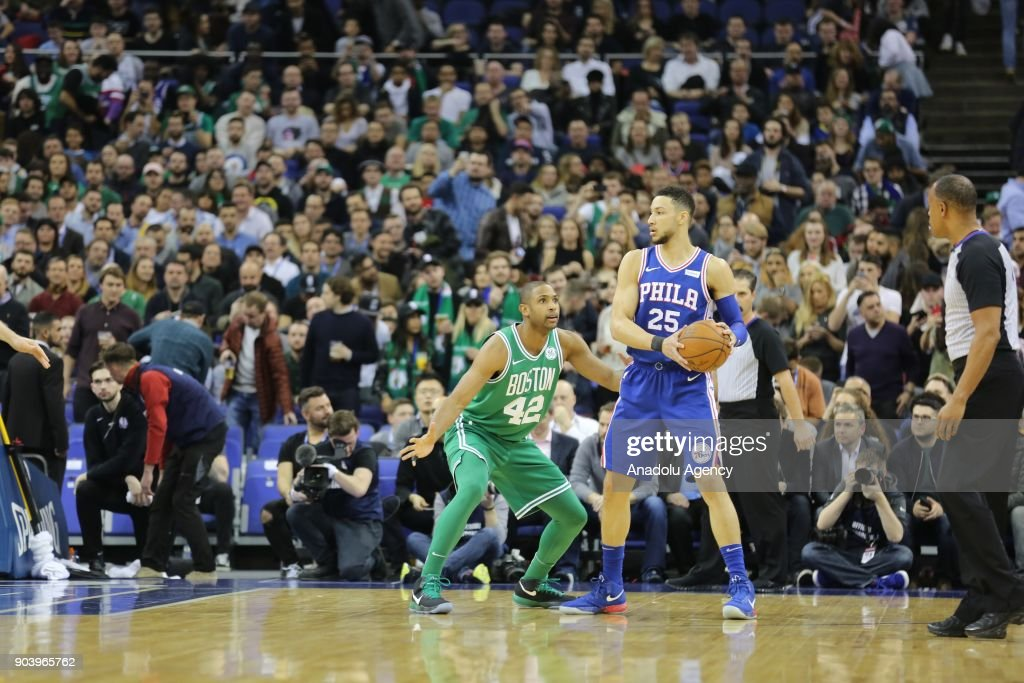 Ben Simmons (25) of Philadelphia in action against Al Horford (42) of Boston Celtics during the NBA game between Boston Celtics and Philadelphia 76ers at the O2 Arena in London, England on January 11, 2018.