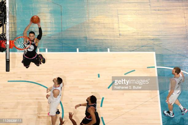 Ben Simmons of Team LeBron dunks the ball against Team Giannis during the 2019 NBA AllStar Game on February 17 2019 at the Spectrum Center in...