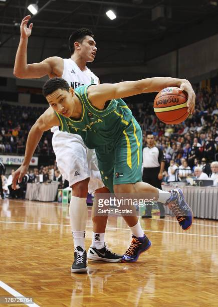 Ben Simmons of the Boomers drives the ball to the basket during the Men's FIBA Oceania Championship match between the Australian Boomers and the New...