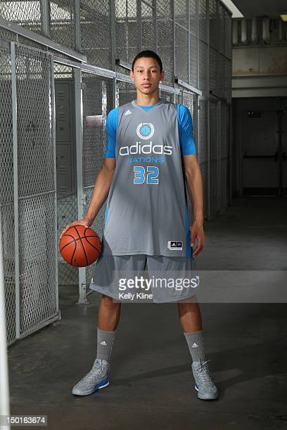 Ben Simmons of the Grey Team poses for a portrait in the locker room during the adidas Nations on August 6 2012 at Long Beach City College in Long...